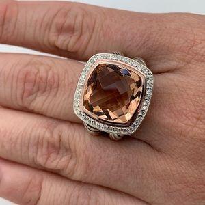David Yurman 925 18kt 14mm Morganite Ring Sz7